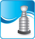 Hockey trophy on blue wave background Stock Photos