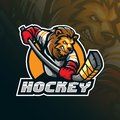 Hockey vector mascot logo design with modern illustration concept style for badge, emblem and tshirt printing. angry lion hockey