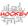 Hockey Word Cloud Concept in Red Scribbles Royalty Free Stock Photography
