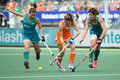 Hockey world cup finals the hague netherlands june dutch player lidewij welten breaks through the australian defence at the of the Stock Photo