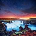 Hodafoss very beautiful Icelandic waterfall Royalty Free Stock Photo