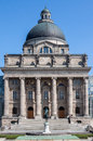 Hofgarten munich germany the facade of a historical building with ionic columns and a large dome with an equestrian bronze statue Stock Image