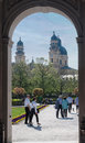 Hofgarten munich theatinerkirche the and with its twin towers and dome bavaria germany Stock Photography