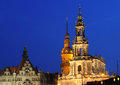 Hofkirche and cathedral in dresden residenzschloss or saint trinitatis germany blue hour with artificial lighting Royalty Free Stock Images