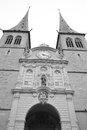 Hofkirche cathedral in luzerne switzerland black and white Stock Photos