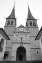 Hofkirche cathedral in luzerne switzerland black and white Royalty Free Stock Images
