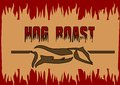 Hog roast abstract barbecue background with silhouette of pig Stock Image