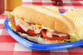 Hogie sandwich a turkey and cheese submarine on a picnic table Stock Images
