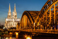 Hohenzollern bridge and cologne cathedral at dusk germany march on march in germany Stock Photos