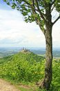 Hohenzollern castle view from the top of zeller horn to in the swabian alb baden wuerttemberg germany Royalty Free Stock Image