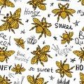 Hohey bee golden embroidery seamless pattern textile fabrics orn Royalty Free Stock Photo