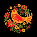 Hohloma bird with floral ornament on black background in round shape