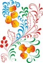 Hohloma pattern consisting of a pattern of leaves stems and fruits berries and apples made in the russian tradition in the figure Royalty Free Stock Images