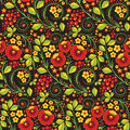 Hohloma seamless pattern in russian traditional style called Royalty Free Stock Photo
