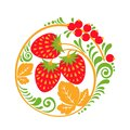 Hohloma vector decor element with berries and leaves isolated on white background