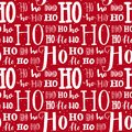 Hohoho pattern, Santa Claus laugh. Seamless background for Christmas design. Vector red texture with white handwritten