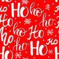 Hohoho pattern, Santa Claus laugh. Seamless texture for Christmas design. Vector red background with handwritten words