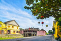 Hoi An, Vietnam - September 02, 2013: People are in the street around Japnaese covered bridge Royalty Free Stock Photo
