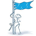 Hoist the flag stick figure Royalty Free Stock Photo
