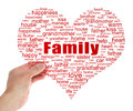 Hold family tag cloud concept in hand on gray concrete wall Royalty Free Stock Image