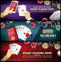 Holdem poker banner set with smartphone full scale chips and male and female hands Stock Photo