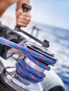 Holder of rope on sailboat Royalty Free Stock Photo