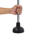 Holding black rubber plunger for toilet pump isolated Royalty Free Stock Photo