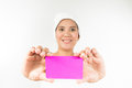 Holding card asian woman in spa Royalty Free Stock Photos