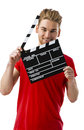 Holding a clapboard Royalty Free Stock Photo