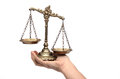 Holding decorative scales of justice isolated law and concept Stock Images
