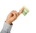 Holding dollars hand on a white background Stock Photos