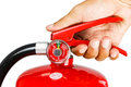 Holding fire extinguisher isolated, with clipping path Royalty Free Stock Photo