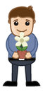 Holding a flower pot in hands vector illustration drawing art of cartoon young man plant and presenting Royalty Free Stock Photography