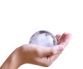 Holding globe in his hand Royalty Free Stock Images