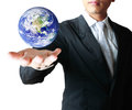 Holding a glowing earth globe in his hands Royalty Free Stock Photos