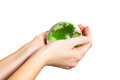 Holding green Earth in hand Royalty Free Stock Photo