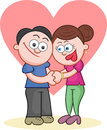 Holding hands with big love heart cartoon man and woman Stock Photography