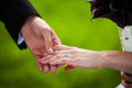 Holding hands bride and groom closeup Stock Image