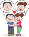 Holding hands with unhappy thoughts cartoon man and woman Stock Images