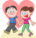 Holding hands and walking with big love heart cartoon couple Royalty Free Stock Photography