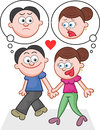 Holding hands and walking with unhappy thoughts cartoon couple Stock Photo