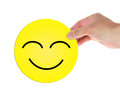 Holding happy smiley face a isolated on white background have a nice day Royalty Free Stock Photography
