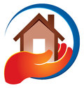 Holding home logo a hand hold a icon Royalty Free Stock Photos