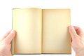 Holding old book wih blank pages isolated white bakground Royalty Free Stock Photos