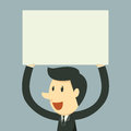 Holding paper businessman over head Royalty Free Stock Photo