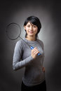 Holding the racquet Royalty Free Stock Photo