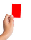 Holding a red card hand isolated on white background Stock Image
