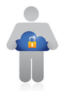 Holding a secure cloud illustration design over white background Royalty Free Stock Photography