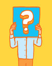 Holding a sign with question mark cartoon illustration of man keeping himself anonymous mystery Stock Image