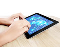 Holding touch screen tablet Royalty Free Stock Image